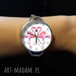 ręcznie zrobione zegarki flaming flamingi - zegarek damski na