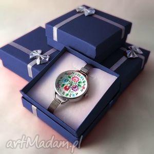 kolorowe zegarki folkowe kwiaty - zegarek z dużą
