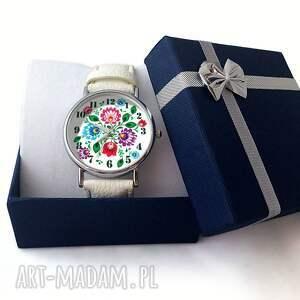 kolorowe zegarki zegarek folkowe kwiaty - skórzany