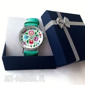 białe zegarki skórzany folkowe kwiaty - zegarek