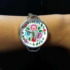 eleganckie zegarki zegarek folkowe kwiaty - z dużą