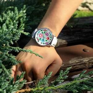 unikatowe zegarki zegarek folkowe kwiaty - skórzany