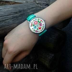 zegarki zegarek folkowe kwiaty - skórzany