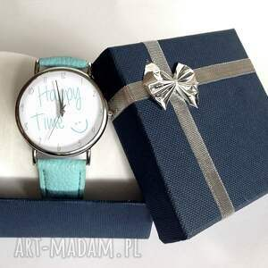 szare zegarki time happy - skórzany zegarek z