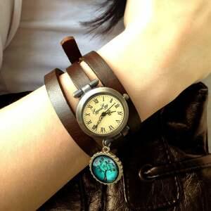 hieroglify zegarki brązowe - zegarek / bransoletka