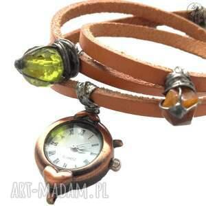 zielone zegarki zegarek-skórzany karolutka tworzy - zegarek skórzany