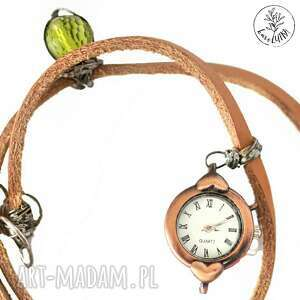 hand made zegarki zegarek karolutka tworzy - skórzany