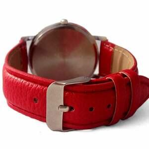 zegarek zegarki czerwone kobiecość - skórzany z dużą