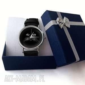szare zegarki zegarek koci pyszczek - skórzany