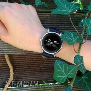 unikatowe zegarki zegarek koci pyszczek - skórzany z