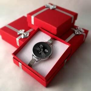 czarne zegarki zegarek kocia mordka - z dużą