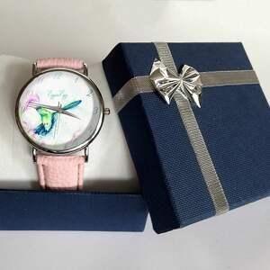 różowe zegarki koliber - skórzany zegarek z dużą