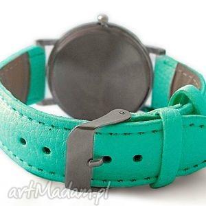 skórzany zegarki turkusowe koliber - zegarek z dużą