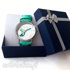 białe zegarki zegarek koliber - skórzany z dużą