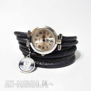 szare zegarki bransoletka komplet - biały lis - zegarek