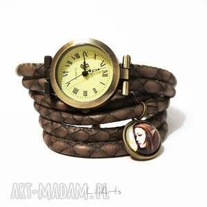 złote zegarki kolczyki komplet - elf i smok - zegarek
