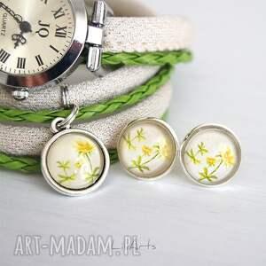 zielone zegarki komplet składa się z zegarka i kolczyków