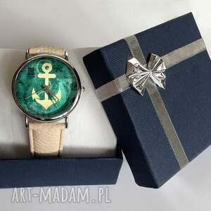 beżowe zegarki kotwica - skórzany zegarek z dużą