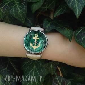 handmade zegarki zegarek kotwica - skórzany z dużą