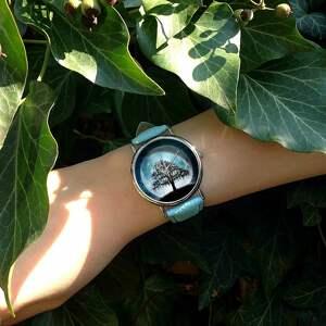 oryginalne zegarki zegarek księżycowe drzewo - skórzany