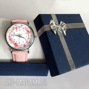 białe zegarki wiśni kwiat - skórzany zegarek