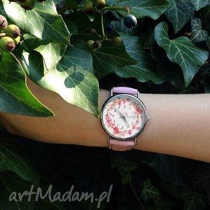 ręczne wykonanie zegarki kwiat wiśni - skórzany zegarek