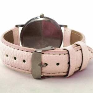 zegarek zegarki różowe kwiat wiśni - skórzany