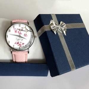 białe zegarki kwiat wiśni - skórzany zegarek