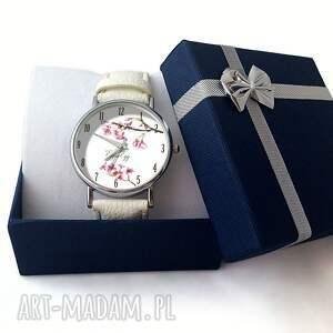 różowe zegarki skóra kwiat wiśni - skórzany zegarek