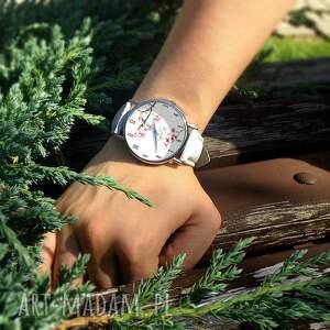 trendy zegarki zegarek kwiat wiśni - skórzany