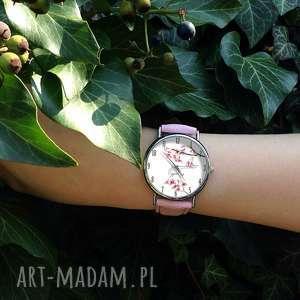 zegarki zegarek kwiat wiśni - skórzany