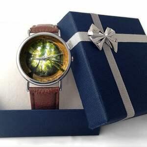 brązowe zegarki zegarek las - skórzany z dużą