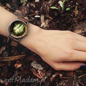 ręcznie wykonane zegarki zegarek las - skórzany z dużą