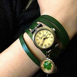 las zegarki zielone - zegarek / bransoletka
