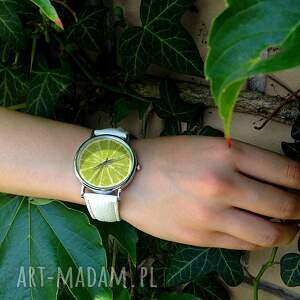 zegarki limonka - skórzany zegarek z dużą