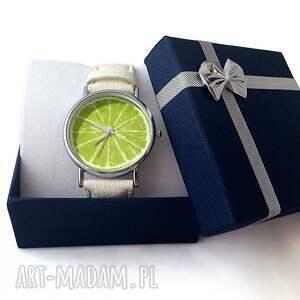 białe zegarki limonka - skórzany zegarek z dużą