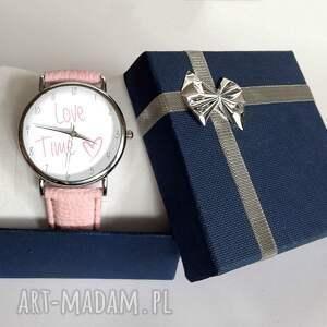 białe zegarki zegarek love time - skórzany z dużą