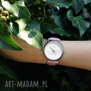gustowne zegarki zegarek love time - skórzany z dużą