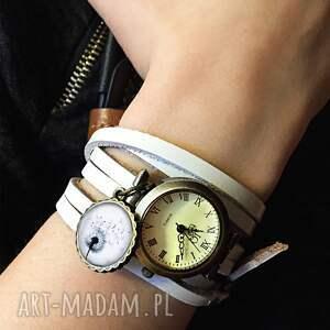 białe zegarki ludowy ludowe wzorki - zegarek/bransoletka