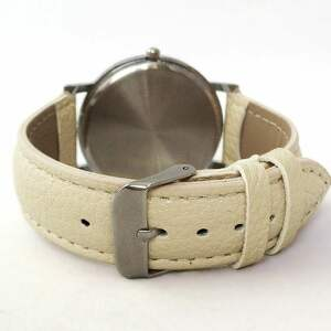 białe zegarki maki - skórzany zegarek z dużą