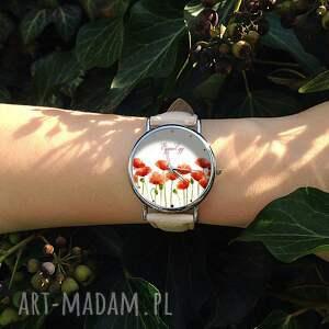 zegarek zegarki czerwone maki - skórzany z dużą