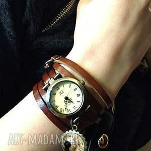 czarne zegarki bransoletka mandala - zegarek / na