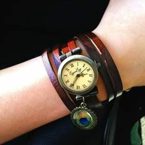 mandala zegarki brązowe - zegarek / bransoletka na