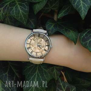 ręcznie wykonane zegarki mapa świata - skórzany zegarek