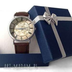 czarne zegarki zegarek mapa świata - skórzany