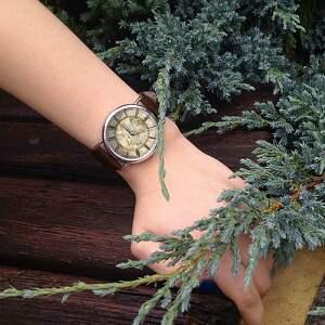 autorskie zegarki zegarek mapa świata - skórzany