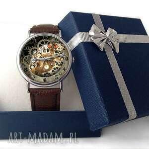 szare zegarki zegarek mechaniczna jaszczurka - skórzany