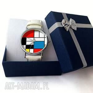 kolorowe zegarki zegarek mondrian - skórzany z dużą