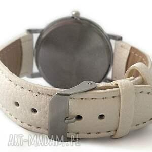 zegarek zegarki białe mondrian - skórzany z dużą