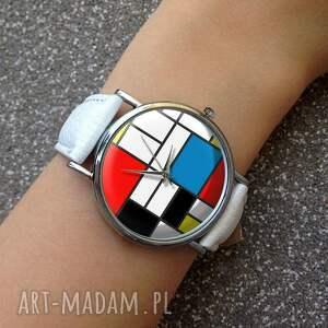 zegarki zegarek mondrian - skórzany z dużą